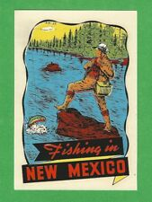 "VINTAGE ORIGINAL 1948 SOUVENIR ""FISHING IN NEW MEXICO"" FLYFISHING DECAL ART NICE"