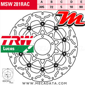 Disque de frein Avant TRW Lucas MSW 281 RAC Ducati 796 Hypermotard (B1) 2012