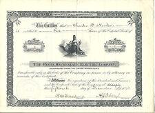 PENNSYLVANIA 1893, Pentz Reckenzaun Electric Company Stock Certificate Philadelp
