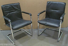 2 x Sorrento -Black Leather Faced Meeting Chair on Chrome Frame,P/n CH0235