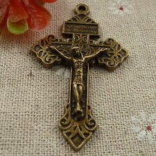 Free Ship 100 pieces Antique bronze Jesus cross pendant 56x34mm #1822