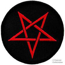 RED PENTAGRAM EMBROIDERED PATCH Wicca Biker DEVIL PENTACLE SATAN IRON-ON evil