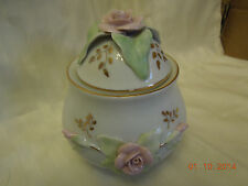 Romanian Camina White Covered Jar decorated with Pink Roses