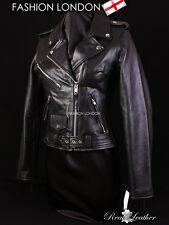 BRANDO Ladies Biker Leather Jacket Black Cowhide Motorbike Racer Leather Jacket