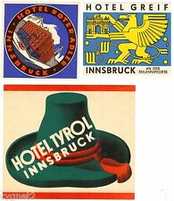 LUGGAGE LABELS GROUP OF 3 AUSTRIAN HOTELS INNSBRUCK