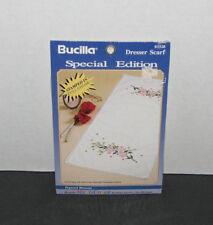 Bucilla Stamped Cross Stitch Dresser Scarf Dogwood Blossoms NEW