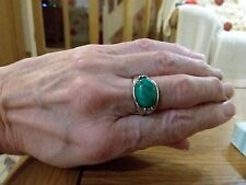 BRAND  NEW SILVER PLATED RING WITH A SMALL TURQUOISE STONE  SIZE R