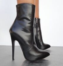 CQ COUTURE CUSTOM ANKLE EXTREME HEEL BOOTS STIEFEL STIVALI LEATHER BLACK NERO 41