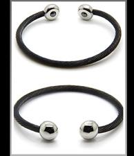 18k White Gold & Black Ionic Magnetic Bio Energy Bracelet Cuff Stress Arthritis