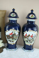 PAIR  French vases in Limoges porcelain hunting dogs horses scene marked