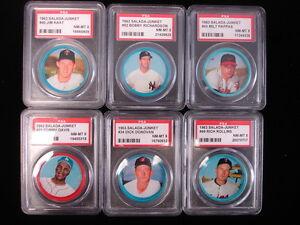Lot of 6 1963 Salada-Junket Baseball Coins – PSA NM-MT 8