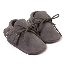 Spring/autumn Baby Moccasins Shoes Scrub First Walkers Dark Gray 12cm B3l3
