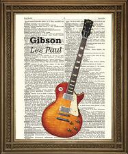 Gibson Les Paul impresión: Vintage Guitarra Eléctrica En Antiguos Diccionario papel!