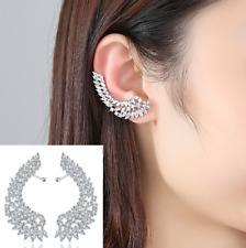 Silver Cubic Zirconia CZ Wing Feather Pin Ear Cuff Crawler Climber Earrings PE37