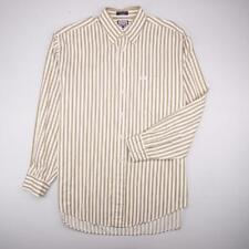 FACONNABLE Button Front Dress Casual Shirt Long Slv White Brown Striped Mens XL