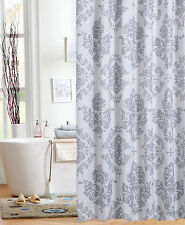 Elegant Gray & White Damask Fabric Shower Curtain Bath Design Print Grey Decor