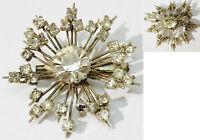 Broche ancienne bijou vintage couleur argent en étoile cristaux diamant * 5099