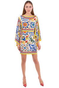 RRP €2385 DOLCE & GABBANA Sheath Dress Size IT 42 / S Silk Blend Majolica Print