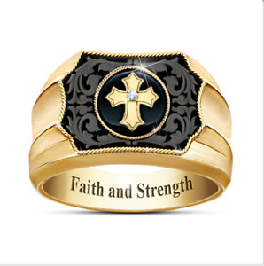 AU Men's Jewelry Gold color Plated Cross Faith and Strength Men's Ring Band