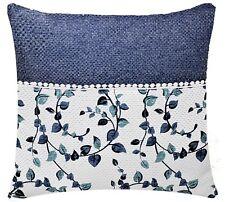 Azul Blanco Estampado de flores con encaje 43.2x43.2cm Funda Cojín para