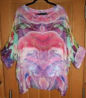 "HAMPSTEAD BAZAAR OS Gossamer Wool Tunic 60""Bust So Soft & Light COLOURFUL VISION"