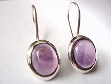 Amethyst Oval Cabochon Earrings Wire Back 925 Sterling Silver New