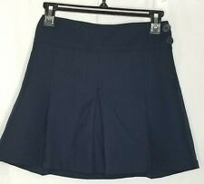 Girls Arrow Skirt Size 8 1/2 Plus Navy Blue Uniform Pleated Elastic Back Euc