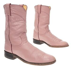 JUSTIN Cowboy Boots 7.5 B Womens Mauve Leather Western Rodeo Roper Boots Biker