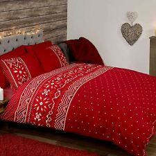 NORDIC CHRISTMAS DOUBLE DUVET COVER SET RED CHRISTMAS BEDDING SNOWFLAKES NEW