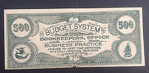 COLLEGE CURRENCY 500 ISSUED ...TRULY PRACTICAL BUSINESS  EDUCATION SHIP VIGNETTE