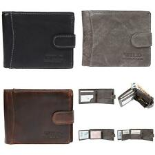 Men's Wallet Purse Real Leather Horizontal Format Rfid Protection Wild