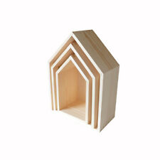 Set Of 3 Wooden Box House Shaped Shelf Box Stands