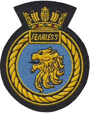 HMS Fearless Royal Navy RN Surface Fleet Crest MOD Embroidered Patch