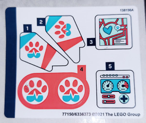 Lego Friends STICKER SHEET ONLY for Lego set 41692 Vet Clinic Rescue Helicopter