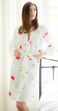 Cottonreal Red Poppy Print White Cotton Ladies Dressing Gown Robe ~ RRP £40