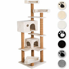 Arbre à chat griffoir grattoir jouet geant 2 grottes 166 cm pour chats