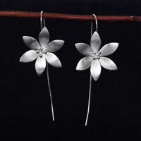 New Flower 925 Silver Long Drop Dangle Tassel Hook Earrings Ear Women Jewelry