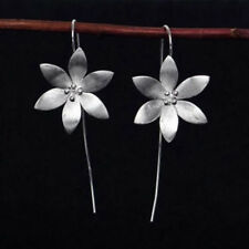 Flower 925 Silver Long Drop Dangle Tassel Hook Earrings Ear Women Jewelry