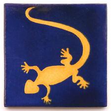 """Handbemalte Fliese """"Gecko Blau"""" aus Mexiko, Kachel, ca. 10x10cm"""