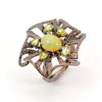 Natural Opal 925 Sterling Silver Ring Size 7.5/RF18-0226