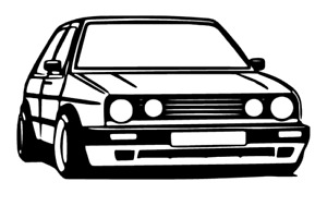 MK2 GOLF GTI Silhouette Car Sticker Outline Decal Vinyl Stickers
