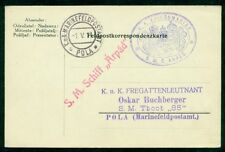 """1917, Hungary Naval Card, ship """"ARPAD"""", purple oval and red single straight line"""