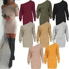 Ladies Off Shoulder Ponte Long Sleeve Cuffed Batwing Mini Dress Top Jumper Celeb