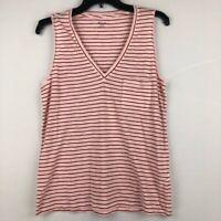 Madewell Womens Whisper Tank Top Red Stripe V Neck Pocket 100% Cotton M New