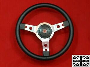 """14"""" Vinyl Steering Wheel-Red Stitching & Hub. Fits MGB GT 1976 and later"""