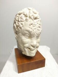 Vintage Rare Austin Production Satyr Head Bust Wooden Base Sculpture 1970s