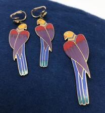 """Vintage Laurel Burch 22KT GP """" CEZANNE"""" PARROTS Pendant & Clip on Earrings Set 6"""