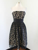 MILLY Black Beige Nude Lace Strapless Bow Cocktail Evening Party Dress Size 4