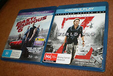 2 BLU-RAY DVD'S WORLD WAR Z EXTENDED & FAST&FURIOUS 6 BLUE-RAY+ULTRAVIOLET DVD