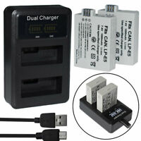 2X LP-E5 BATTERY+ LCD Dual charger for Canon Eos Xs Xsi T1I 450D 500D 1000D new